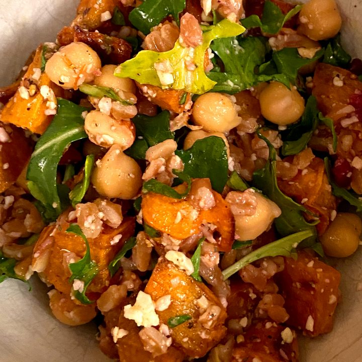 Farro with Roasted Sweet Potatoes and Chickpeas